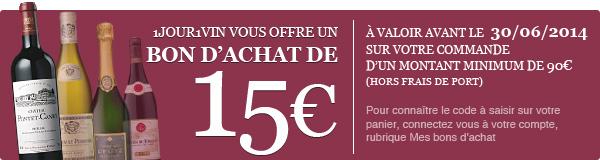 Bon d'achat de 15 euros valable jusqu'au 30 Juin 2014